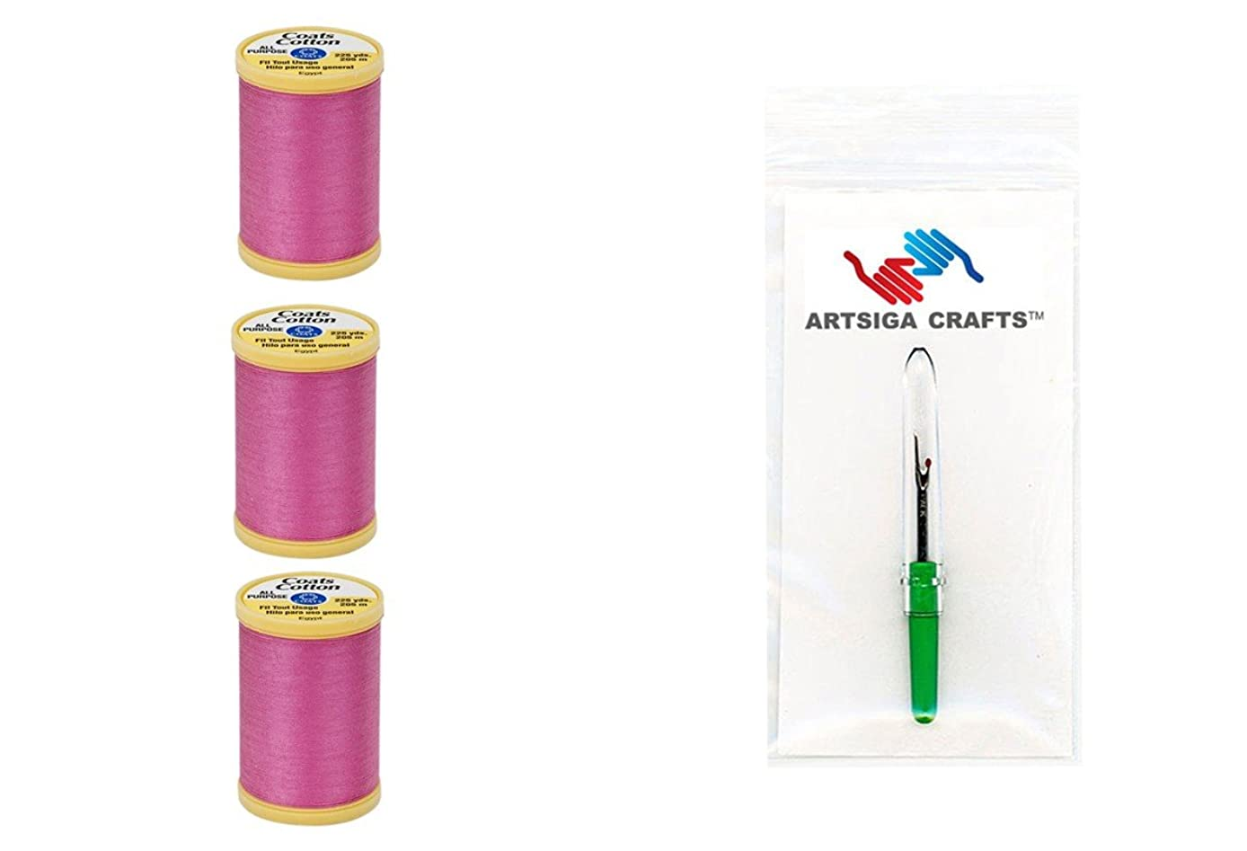 Coats & Clark General Purpose 100% Egyptian Cotton Thread 225 Yds (3-Pack) Hot Pink Bundle with 1 Artsiga Crafts Seam Ripper S970-1840-3P