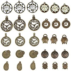 Clock Charms - 30-Piece Mixed Watch Steampunk Clock Face Gear Charms, Antique Pendants, Alloy Charms, Perfect for Accessories Keychains Bracelets Necklaces DIY, Jewelry Making, Craft, Assorted Design