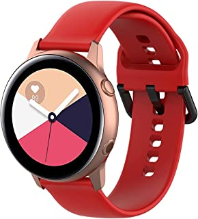 Replacement Strap Compatible with Samsung Galaxy Watch Active R500 Fitness Tracker - Hamkaw 2 in 1 20mm Soft Silicone Smart Watch Accessories Strap Wristbands for Women Men Red (L&S)