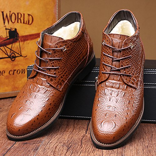 Men's Chukka Boot, Gracosy Men Leather Formal Boots, Cap-Toe Oxford Shoe, Dress Lace Up Shoes with Velvet Brown 12