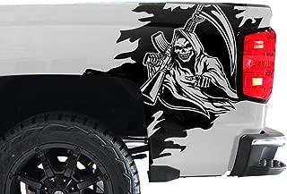 Factory Crafts Reaper Rear Quarter Panel Graphics Kit 3M Vinyl Decal Wrap Compatible with Chevrolet Silverado 2014-2017 - Matte Black