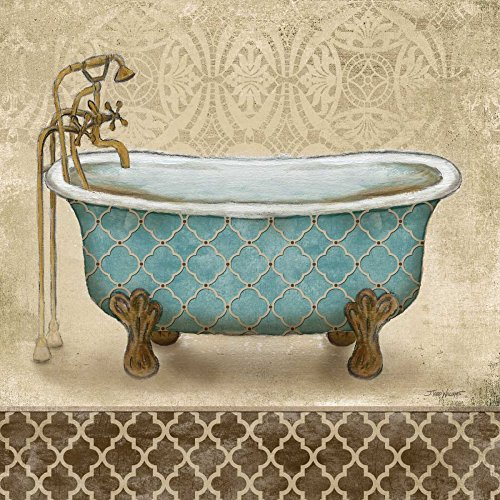WANDAFBEELDING-op-CANVAS-Lattice-Bath-II-Williams-Todd-Bad-Print-op-canvas-op-houten-frame-voor-wanddecoratie-Afbeelding-gedruckt-op-ingelijst-canvas-100%-Afmeting-77_X_77_cm