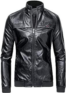 Men Leather Jacket Beautyfine Winter Biker Motorcycle Zipper Long Sleeve Coat Top Blouses