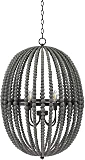 Stone & Beam Modern Farmhouse Round Wood Bead Cage Chandelier Ceiling Fixture With 4 LED Light Bulbs - 23 x 23 x 33 Inches, Grey