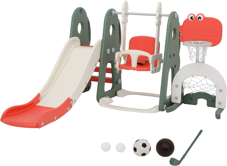 OOTDxvv Toddler Slide,5-in-1 Toddler Slide and Swing Set, Kids P