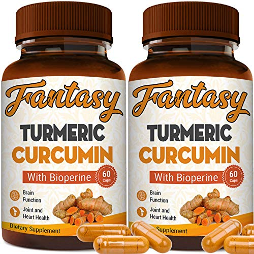 (2-Pack) Turmeric Curcumin with Bioperine 1650mg. Premium Pain Relief & Joint Support with 95% Standardized Curcuminoids. Non-GMO, Gluten Free Turmeric Capsules with Black Pepper