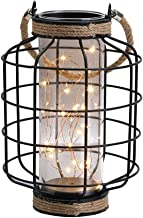 JHY Design Metal Cage LED Lantern Battery Powered,9.4