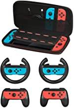 Accessories Kit for Nintendo Switch Games Starter, 2X Steering Wheel, 2X Grip Kit, 1x Travel Carry Case(5 in 1) Black
