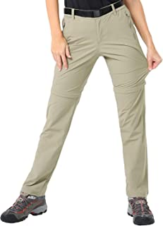Women's Quick Dry Convertible Cargo Pants Lightweight Stretchy Hiking Pants, 5 Zipper Pockets, Water Resistant