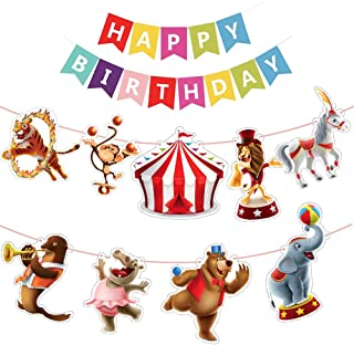 Carnival Banner Circus Party Supplies Happy Birthday Banner Themed Circus Carnival Party Decoration Kids Birthday Baby Shower Sign Decor Set Home Decorations