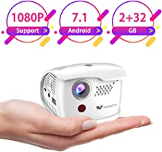 $169 » WOWOTO Q1 Pro Mini Projector Portable 2800 Lux Android 7.1 WiFi Wireless & Bluetooth Video Projector Support 1080P HD/USB/SD/Indoor & Outdoor Projector for Home Theater (2+32G)