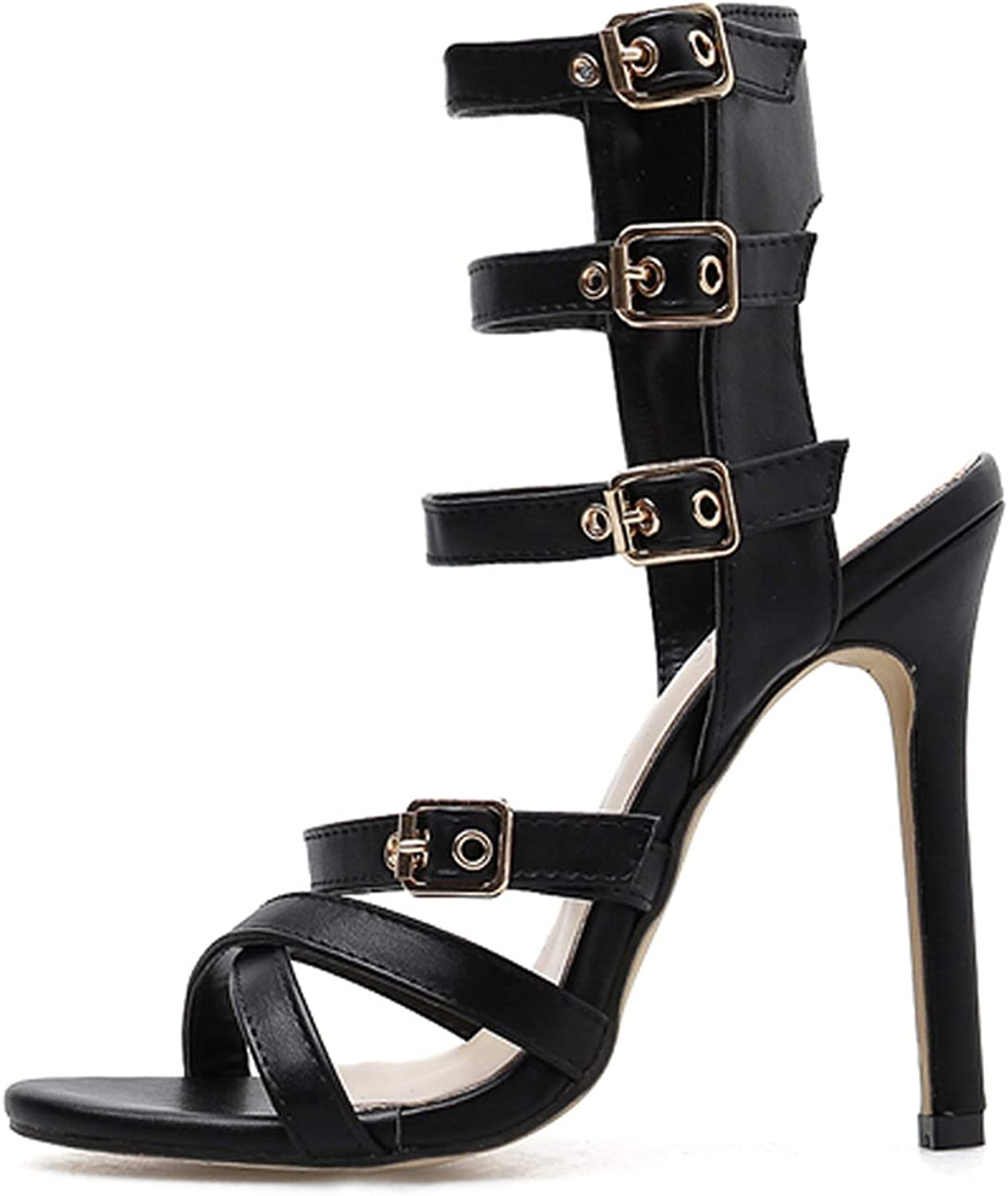 Ches Fashion Peep Toe Party Gladiator Ladies Buckle Strap shoes Black Size 35-40 high Heels Sandals Women for 2019 New