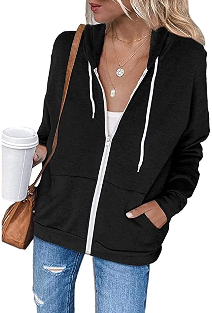 Sweatshirts for Women Zip Up Hoodie Basic Solid Long Sleeve Hooded Sweatshirt Zipper Jacket Coats with Pockets