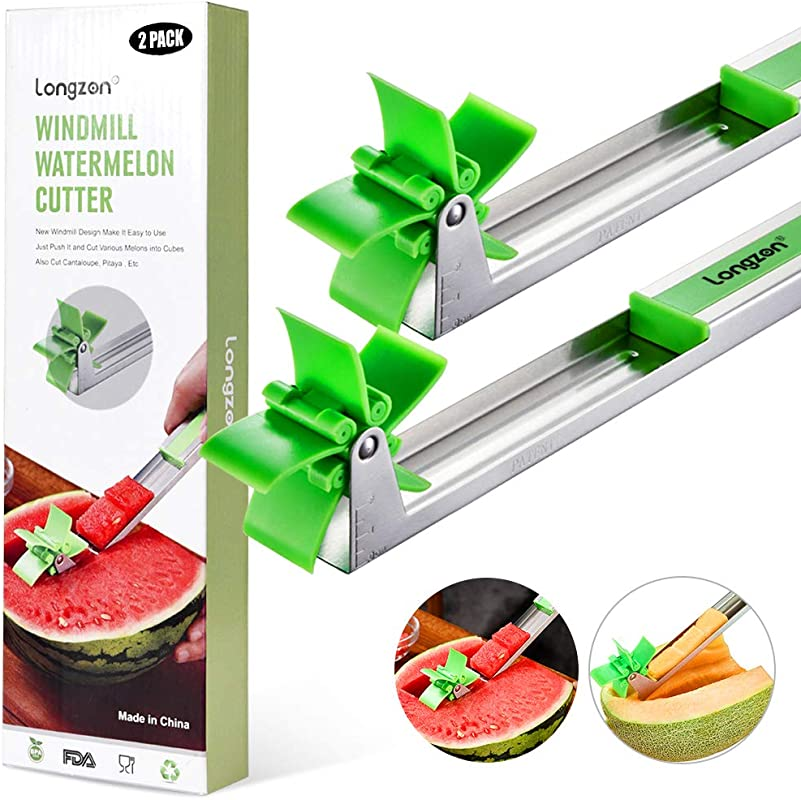 2 Pack Longzon Watermelon Windmill Cutter Slicer Stainless Steel Windmill Watermelon Knife Tongs Fruit Kitchen Gadget For Melon Cutter And Cantaloupe Scooper Windmill Shape Tool For Fruit Salad
