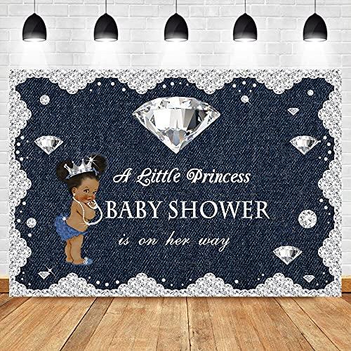 Fondo de Ducha de bebé Piel Oscura niña Fiesta de Bienvenida al bebé Fondo de fotografía Fiesta de Princesa Accesorios de fotografía A1 5x3ft / 1.5x1m