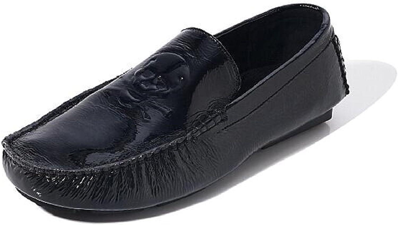 HAPPYSHOP(TM Leather Casual Slip-on Loafer Fashion Skull Head Mens Boat shoes Moccasins Black