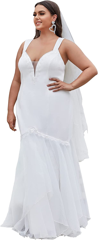 Ever-Pretty Women's Plus Size V Neck Sleeveless Bodycon Floor-Length Tulle Wedding Dress for Bride 90342-PZ