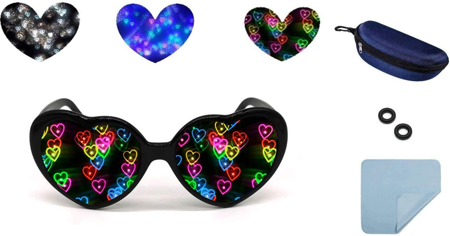 Heart Diffraction Glasses,Special Effects Eyeglasses for Night Club Music Festivals Valentines Day Raves