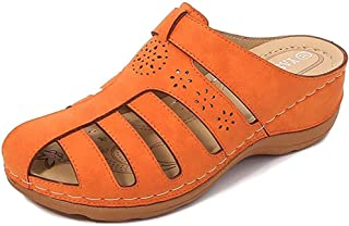 ZMYC Women's Wedge Sandals Clogs Suede Slip On Sandals Loafers Flat Round Toes Backless Mules Summer Breathable Slippers Comfortable Beach Slippers (Color : Orange, Size : 39)