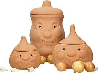 MamboCat Lot de pots en terre cuite - Pour pommes de terre, oignons, ail - Avec couvercle - Pour ranger les oignons, les p...