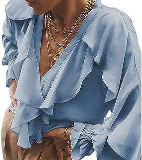 Womens Button Lotus Ruffled Long Sleeve V-Neck Ruffle Blouse