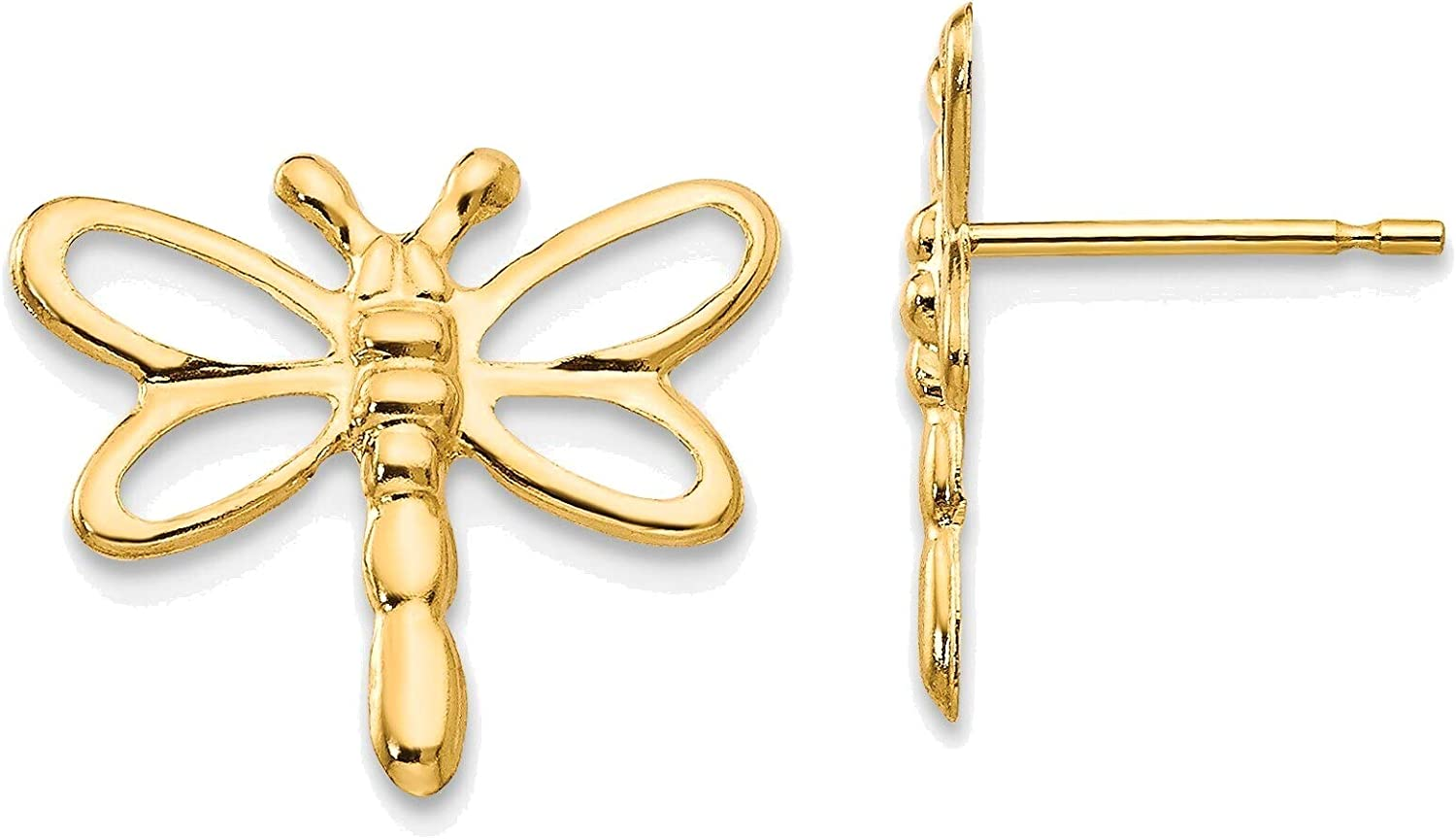 Madi K Dragonfly Post Earrings in 14K Yellow Gold
