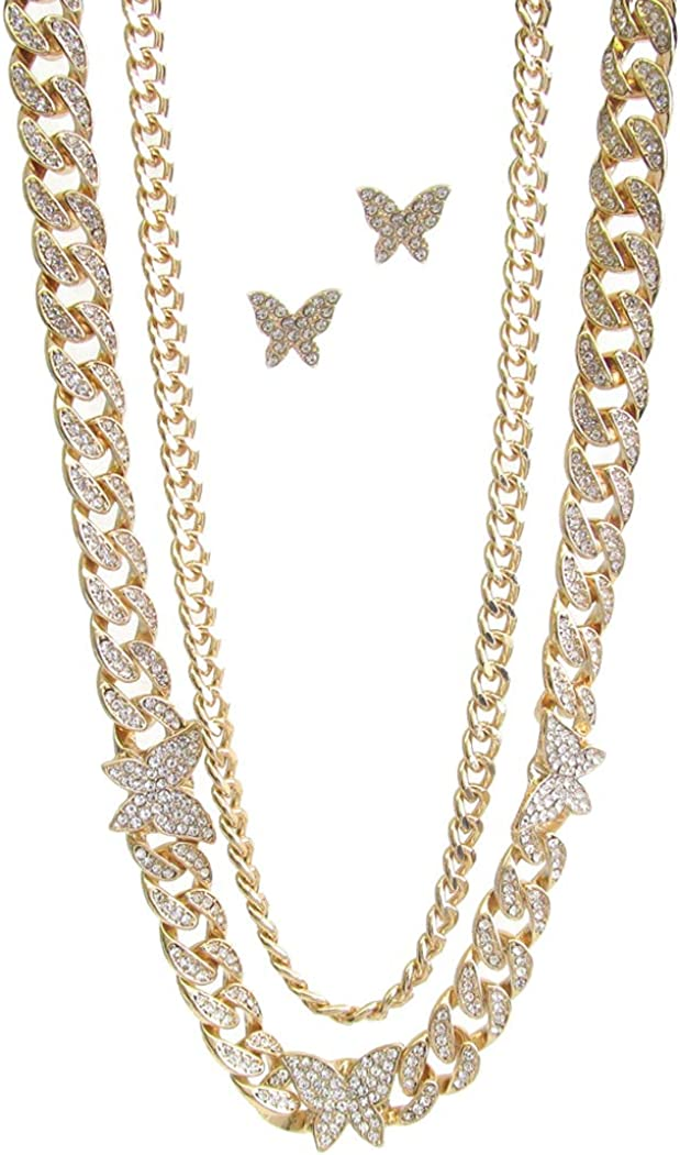Fashion Jewelry ~ Clear Crystal Chunky Cuban Chain Butterfly Statement Necklace and Earrings Set for Women Teens Girlfriends Birthday Gifts