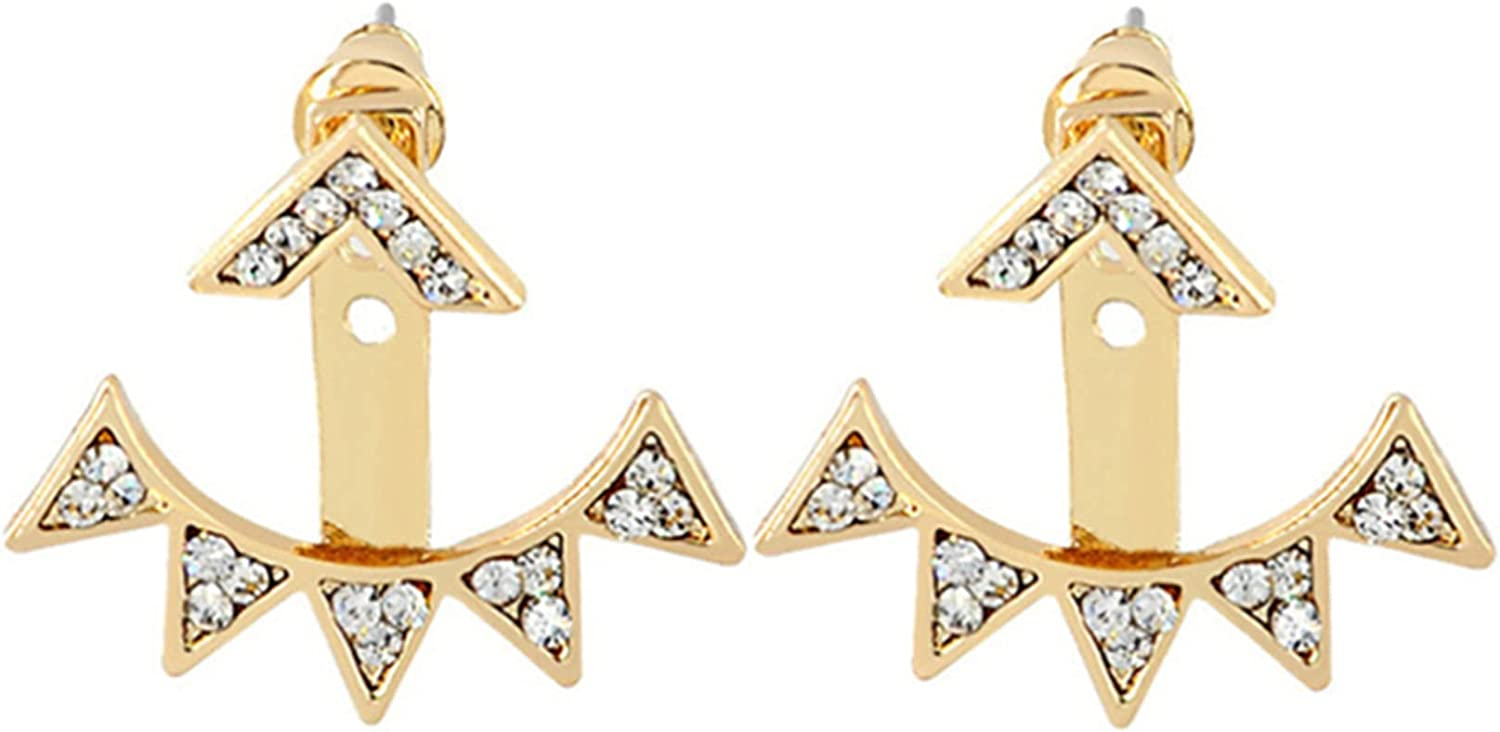 Timesuper Don't miss the campaign Elegant Crystal Ear Jacket Pend Leaf Teardrop Earrings Popular products