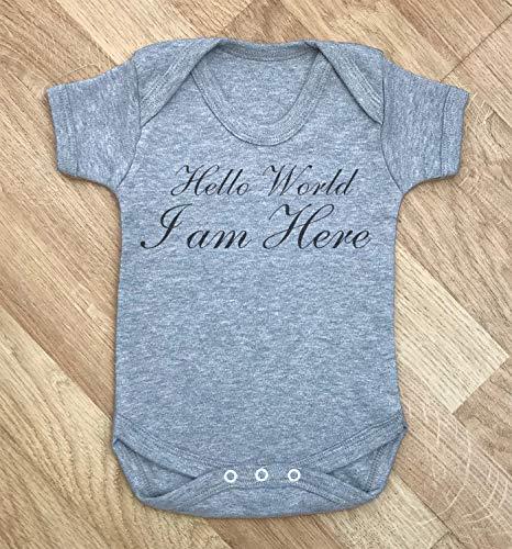 Body personalizado Hello World, bebé creciendo, traje de cuerpo de bebé nombre personalizado ropa mono