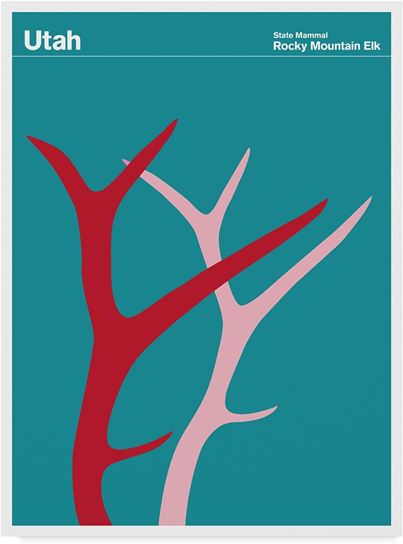 Trademark Fine Art Utah Rocky Mountain Elk by Print CollectionArtist, 14x19Inch