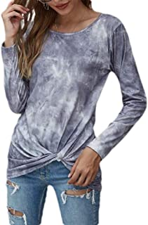 Loyomobak Women's Plus Size Casual Tie Dye Print Twist Knot Front Crew Neck Long Sleeve T-shirt