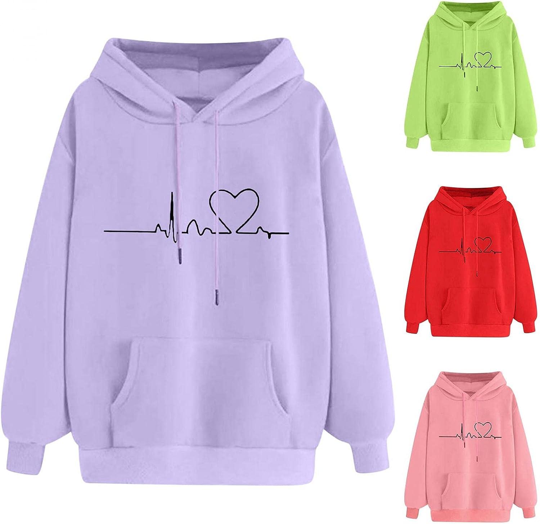 Fudule Graphic Hoodies for Teen Girl, Cute Heart Print Sweatshirts Colorful Long Sleeve Shirts for Women Casual Fall Top