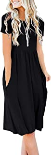 DB MOON Women Summer Casual Short Sleeve Dresses Empire Waist Dress with Pockets