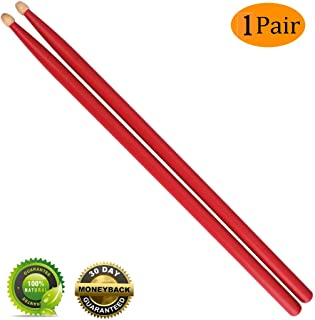 Drum sticks 5a Wood Tip Drumsticks Classic 5A Drum stick 1 Pair Red (1 Pair Red)
