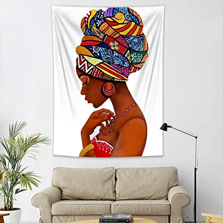 Amazon Com Lb African American Theme Afro Girl Tapestry Sexy Black Girl With Tribal Dress Afrocentric Wall Tapestry For Bedroom Living Dining Room College Dorm Home Decor 60 Lx40 W Everything Else