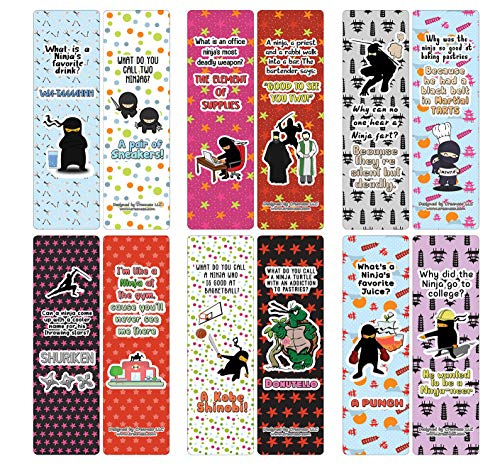 Creanoso Ninja Jokes Cards (30-Pack) - Assorted Designs for Children - Classroom Reward Incentives for Students - Stocking Stuffers Party Favors & Giveaways for Teens & Adults
