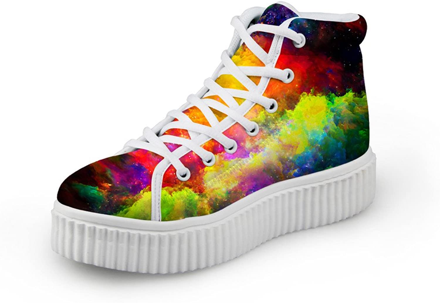 Bigcardesigns Classical Galaxy Design High Top Casual Sneakers Lace Up Flat shoes Unisex