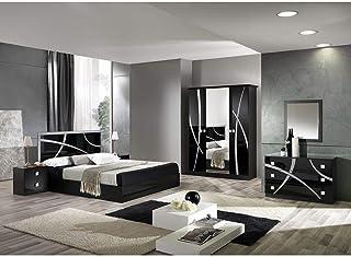 AltoBuy Alyssa - Chambre Complète 160x200cm Noire et Argent