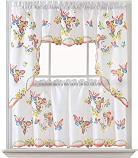 Tulip Vigor 3pcs Kitchen Curtain//Cafe Curtain Set Air-Brushed by Hand of Tulip /& Butterfly Design on Thick Satin Fabric GOLDEN OCEAN HOME TEXTILES GOHD
