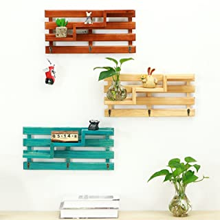 Wood Wall Shelf, Creative 3-Tier Wall Mount Wooden Floating Shelf With 3 Hooks Retro Rustic, Multi Organizer for Entryway Hallway Living Room Office Bathroom Kitchen Bedroom Decoration (Blue)