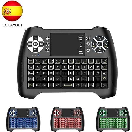 Horsky Español Mini Teclado Inalámbrico 2.4GHz Touchpad Keyboard Botones 76 Teclado led con Ratón para Smart TV, PC, Android TV Box, HTPC, IPTV, Xbox, ...
