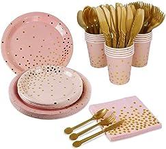 مجموعة أدوات مائدة للاستعمال مرة واحدة عالية الجودة لـ 10 أشخاص، آمنة صحية، مثالية للحفلات، التخييم، النزهات، الزفاف (وردي)