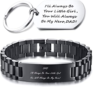 MEALGUET Daughter to Dad Gift Stainless Steel You Will Always be My Hero Engraved Link Bracelet Wristband and Keychain for Father's Day Birthday