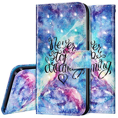 Surakey Hülle für Xiaomi Mi Note 10 Lite Handyhülle Schutzhülle Klapphülle Bunt 3D Bling Glitzer Muster PU Lederhülle Brieftasche Flip Case Wallet Tasche Handytasche Kartenfächer,Blau Galaxis