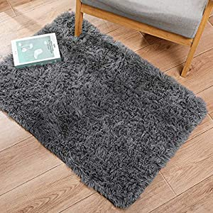 Ophanie Ultra Soft Fluffy Area Rugs for Bedroom, Luxury Shag Rug Faux Fur Non-Slip Floor Carpet for Kids Room, Baby Room, Girls Room, Play Room, and Nursery – Modern Home Decor, 2×3 Feet Grey