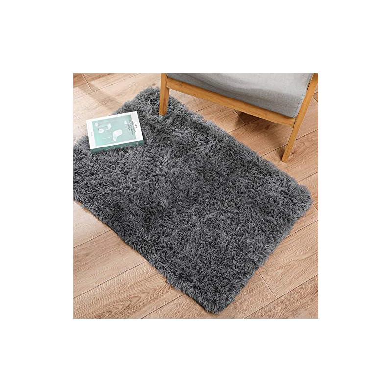 silk flower arrangements ophanie ultra soft fluffy area rugs for bedroom, luxury shag rug faux fur non-slip floor carpet for kids room, baby room, girls room, play room, and nursery - modern home decor, 2x3 feet grey