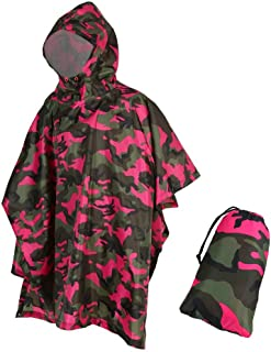 Rain Ponchos for Adults Camo Reusable with Hood Waterproof Multifunction 3 in 1 Rain Coat for Hiking Camping Outdoor Shelter Ground Sheet