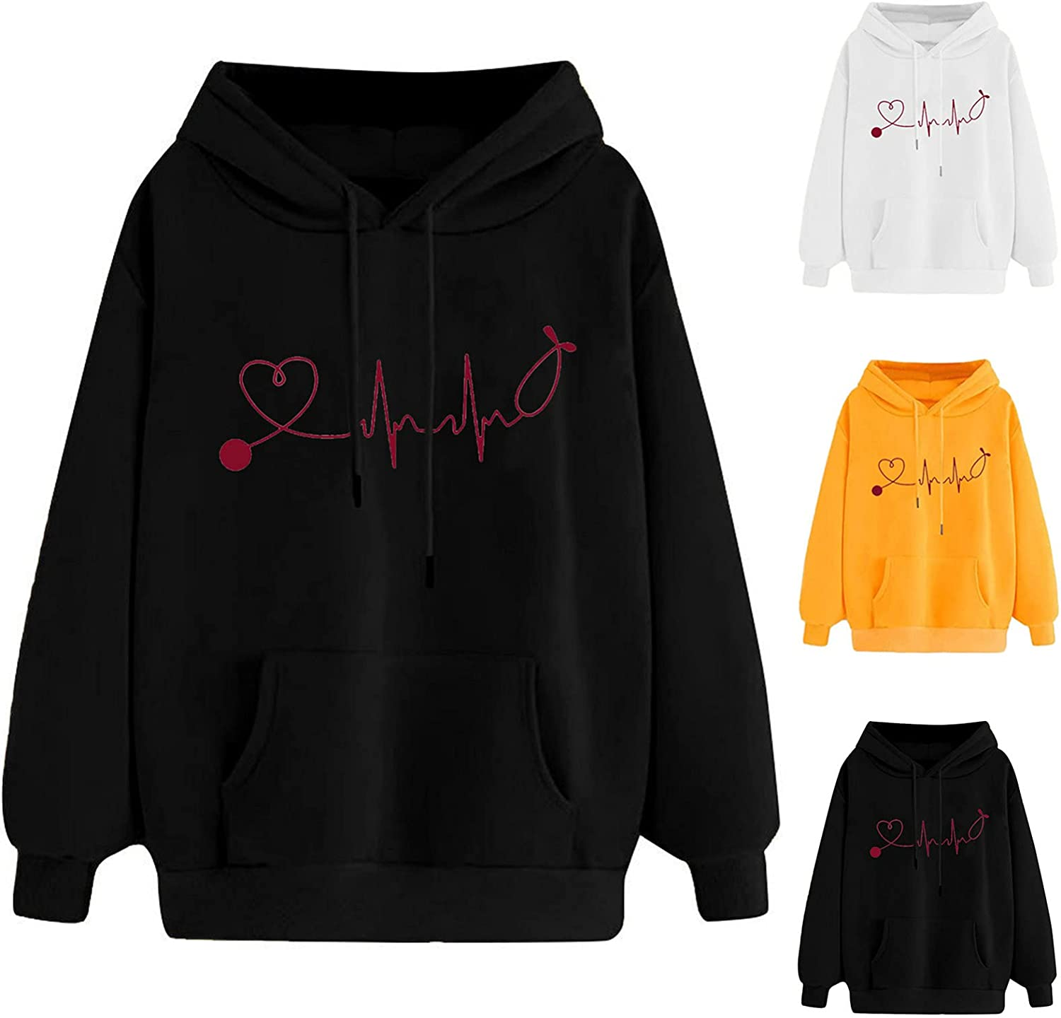 Women's Cute Graphic Hoodies Long Sleeve Sweatshirts Solid Color Casual Tops Plus Size Loose Pullover