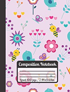 Composition Notebook: Bee & ButterflyJournal With Birds And Bautiful Purple Flowers Ideal For Kids, Students And School Pe...