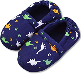 VLLY Kids' Winter Soft Faux Fur Ling Dinosaur Slippers with Anti-Slip Sole Shoes (FBA)